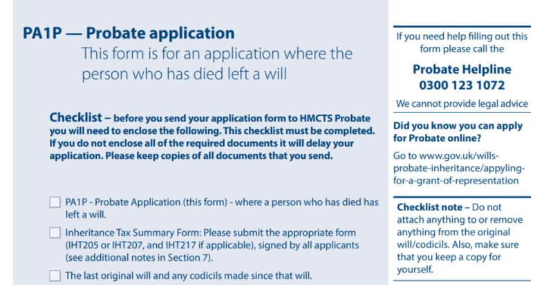Probate PA1P form