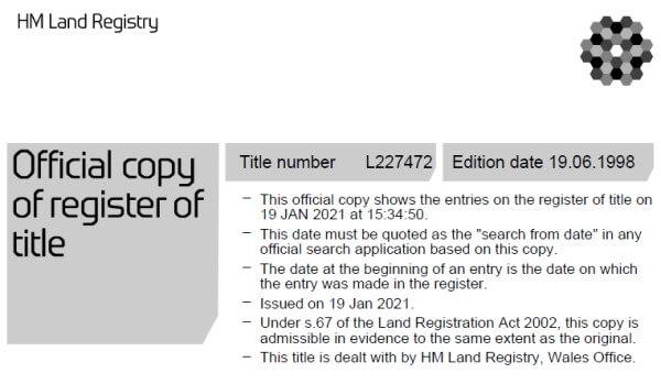 Land Registry title document