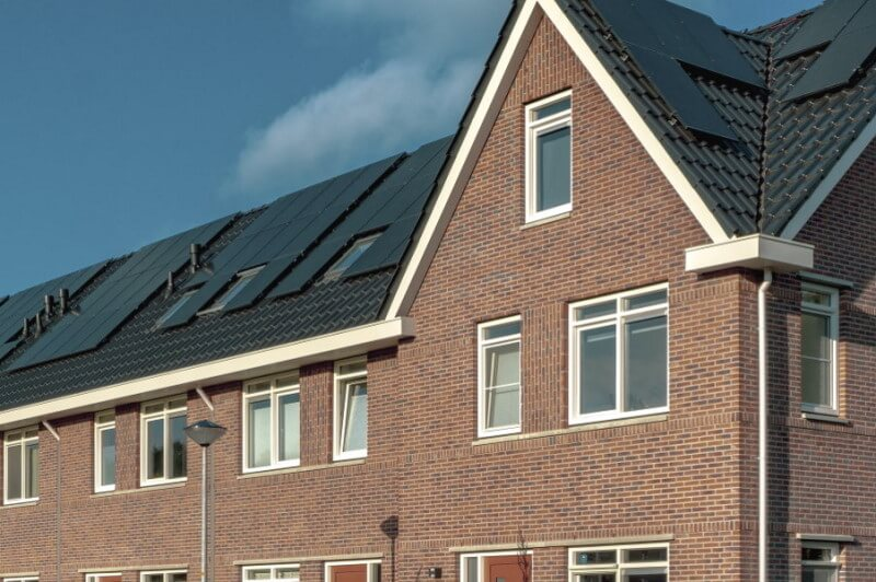 Selling house with solar panels on roof